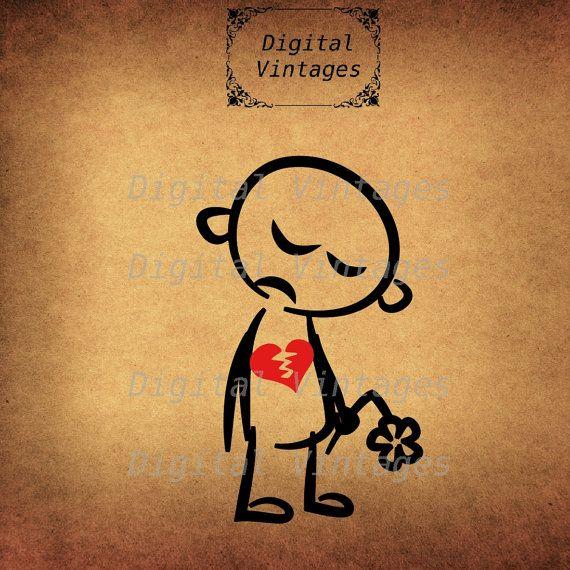 Charming Broken Heart Stick Figure Sad Color Illustration Digital Image Graphic  Download Printable Clip Art Prints 300dpi Svg Jpg Png