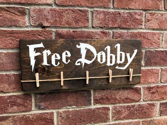 Free Dobby Wood Sign / Harry Potter House Elf / Laundry Room Sock Hanger / Save Dobby / Donate Single Socks / Lost Socks / Gifts Under 20