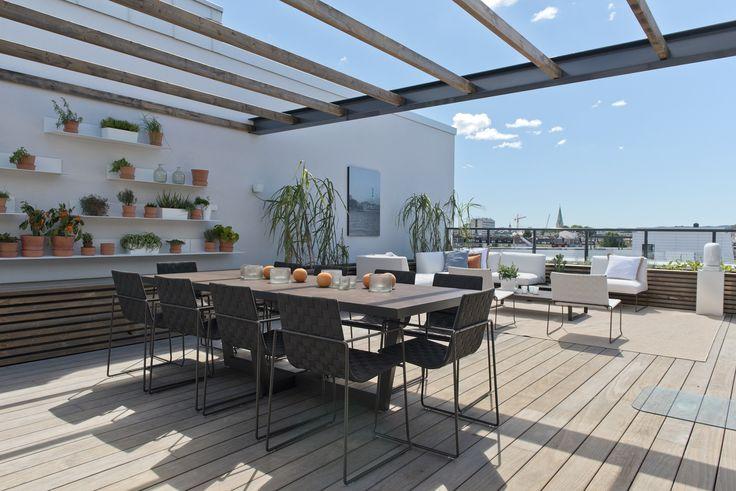 Terrasse-inspirasjon: Grønne planter på tak-terrasse i Kristiansand