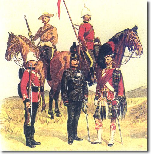 Canadian Troops c 1895 Rear rank  Constable NWMP, trooper Royal Canadian Dragoons. Front Rank Private Royal Canadian Regiment, Officer 2nd Queen's Own rifles and Officer 5th Royal Scots.