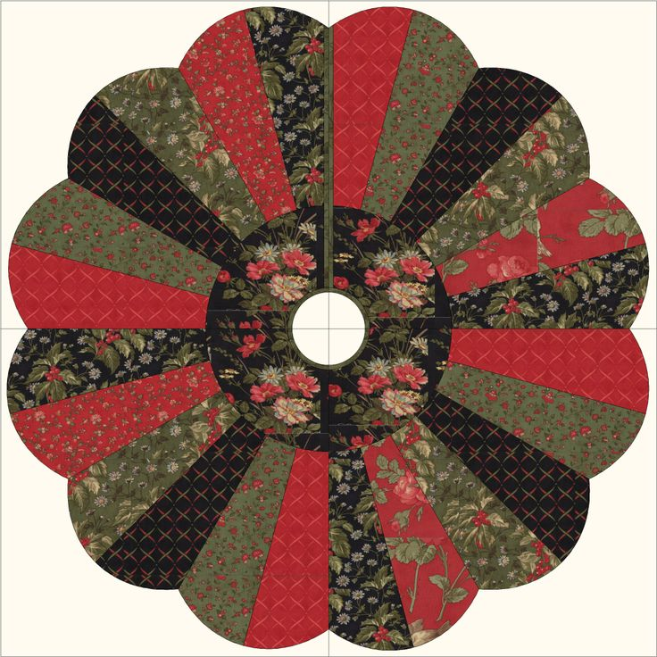 """Quilted Christmas Tree Skirt or Table Topper - 42"""".  Split Dresden. Uses a ruler, not a template.  Quilt pattern PDG-102 Dres'd In the Holiday Spirit by PDG Creations LLC"""