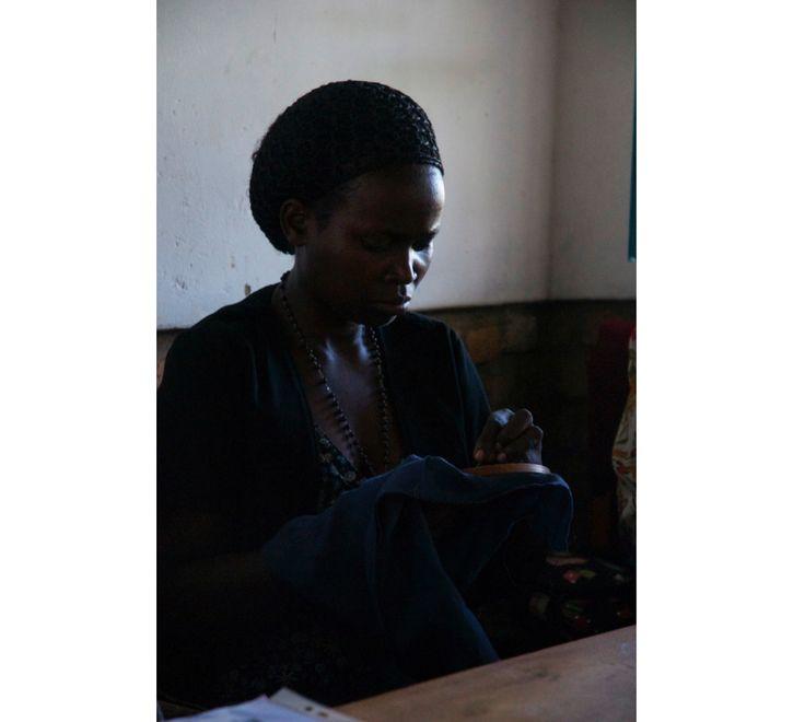 Jeanne, embroidery workshop in Rwanda.  Handmade.