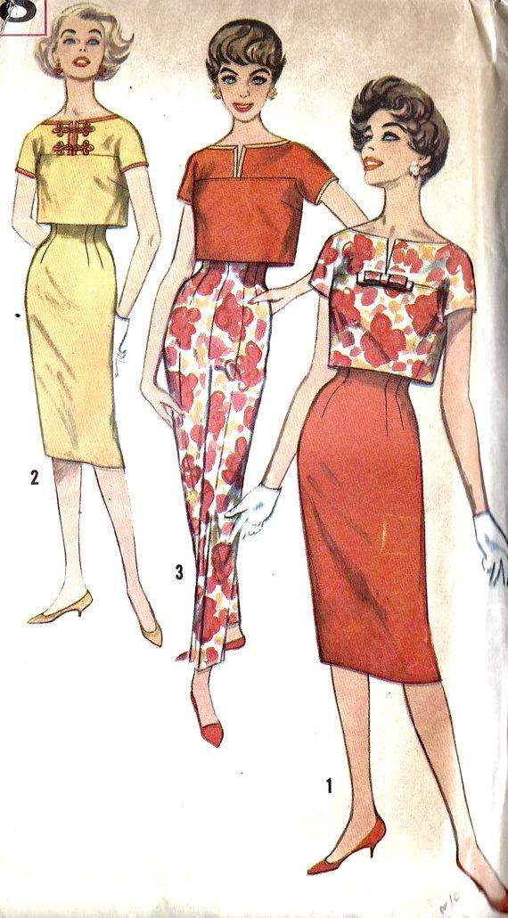 1950s Misses' Overblouse Skirt & Pants
