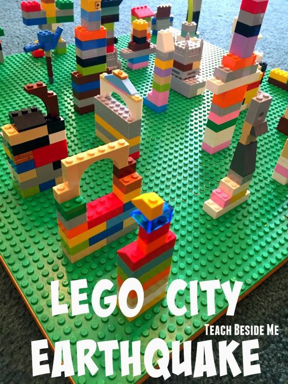 Lego City Earthquake- Build a city and experiment with which buildings are the strongest for your earthquake! great STEM project.