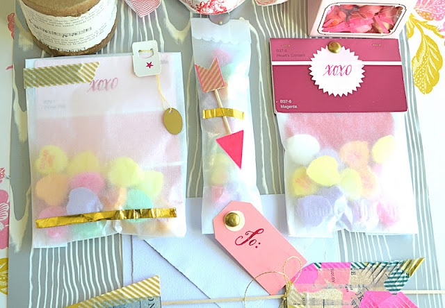 japanese washi tape, glassine bags, skewers, stamps, and paint sample cards....and conversation hearts