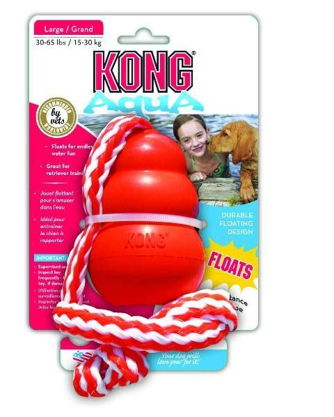Description - Floats for endless water fun - Great for retriever training - Long distance throw rope The KONG Aqua, formerly the Cool KONG, is a floating retrieval toy that promotes fun and exercise b