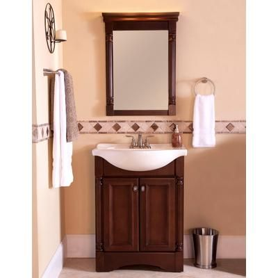 Downstairs bathroom St  Paul   Valencia 25 in  Vanity with Porcelain Top and Mirror in Glazed Hazelnut     Home Depot Canada  Maybe this one in half bath. 1000  images about 1 2 Bath on Pinterest   Small bathroom vanities