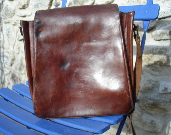 Vintage Leather French Postmans Bag by LeBonheurDuJour on Etsy, $85.00
