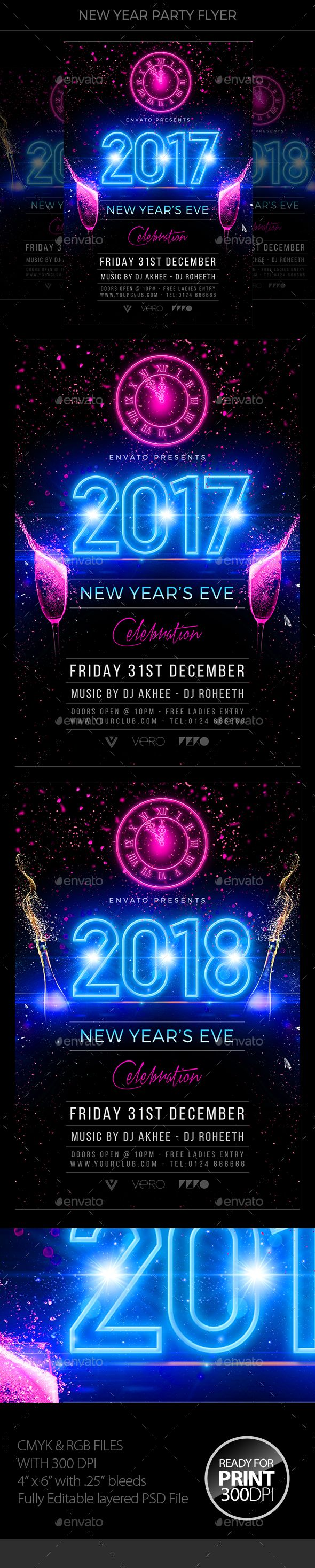 New Year Party Flyer Template PSD #nye