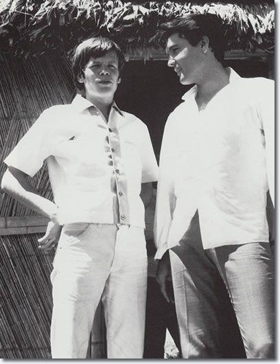 Peter Noone (Herman's Hermits) and Elvis Presley on the set of Paradise, Hawaiian Style -1966