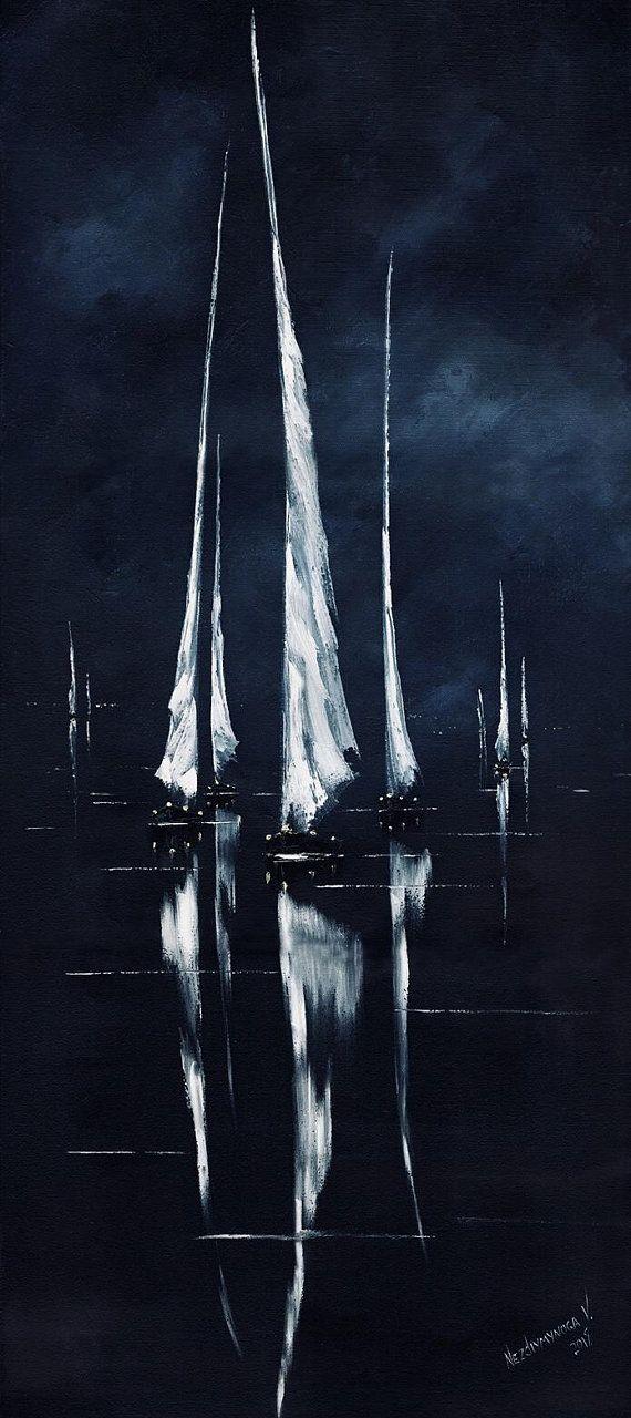 Nacht segelboote malerei öl reflexion kunstwerk l…
