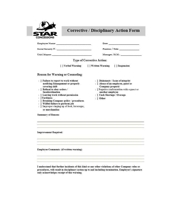 40 Employee Disciplinary Action Forms ᐅ Action Plan Template
