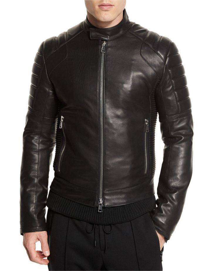 Black Leather Jacket for Men Biker Motorcycle Size S M L XL XXL Zakiz Customized | eBay