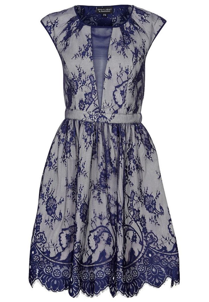 Warehouse - Cocktailkleid / festliches Kleid - blau/altrosa