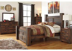 Rustic Winter Room Quinden Queen Poster Storage Bed