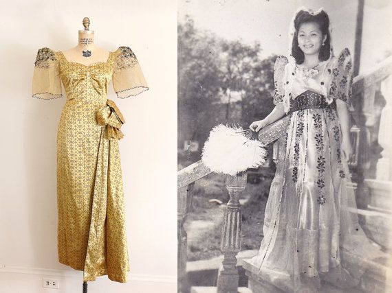 RARE vintage 1950s dress // 50s Filipino gown ...