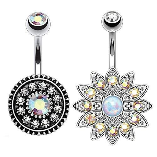 BodyJ4You Belly Button Ring Shield Aurora Crystal Aurora 14G Piercing Set 2 Pieces