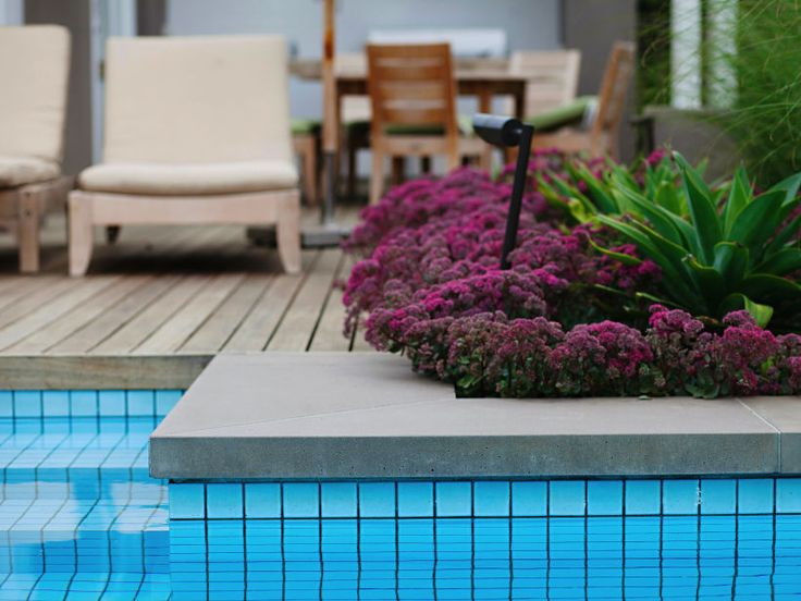 Eco Outdoor concrete pavers used a pool coping paired with wooden decking, by Harris Parnell. Eco Outdoor | Concrete pavers | Harris Parnell Garden Design | livelifeoutdoors | Outdoor Design | Natural stone flooring | Garden design | Outdoor paving | Outdoor design inspiration | Outdoor style | Outdoor ideas | Luxury homes | Paving ideas | Garden ideas | Natural stone paving | Floor tiles | Outdoor tiles