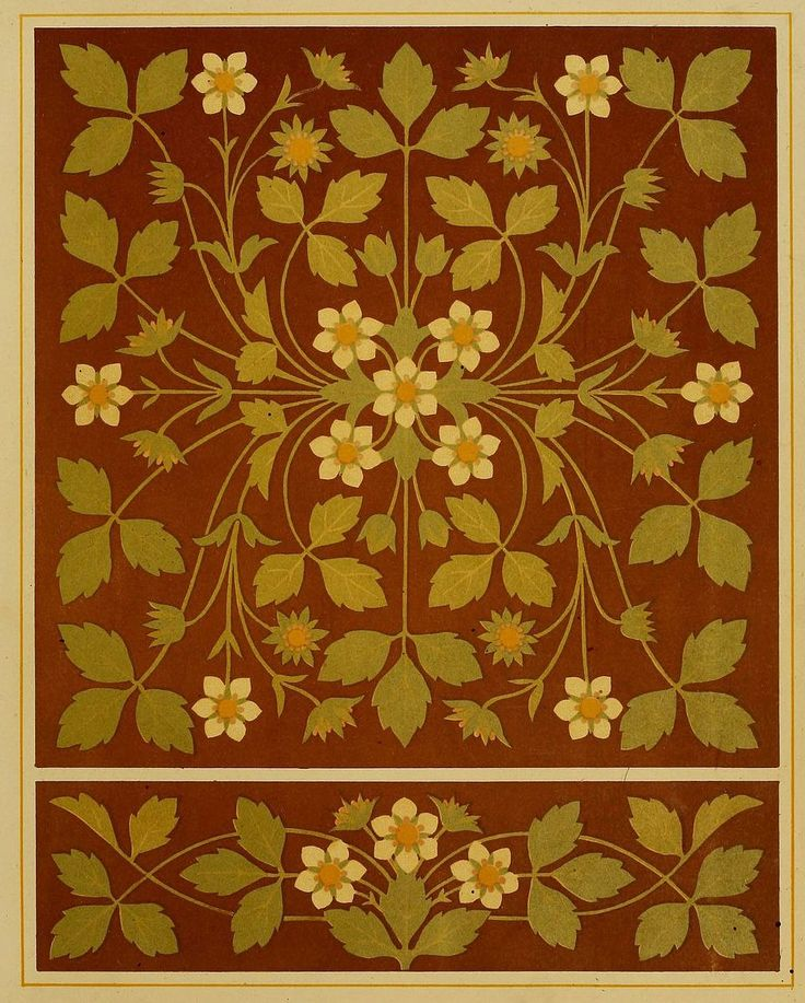 "Embroidery design by Thomas Crane, from the book Art Embroidery by Mary S. Lockwood and Elizabeth Glaister (1878). ""Design for square footstool or cushion -- strawberry blossom and leaves...this design is adapted to its purpose by looking equally well in any position, it being impossible to be placed upside down."" More of his designs: https://commons.wikimedia.org/wiki/Category:Thomas_Crane_(1843%E2%80%931903) - and more about him…"