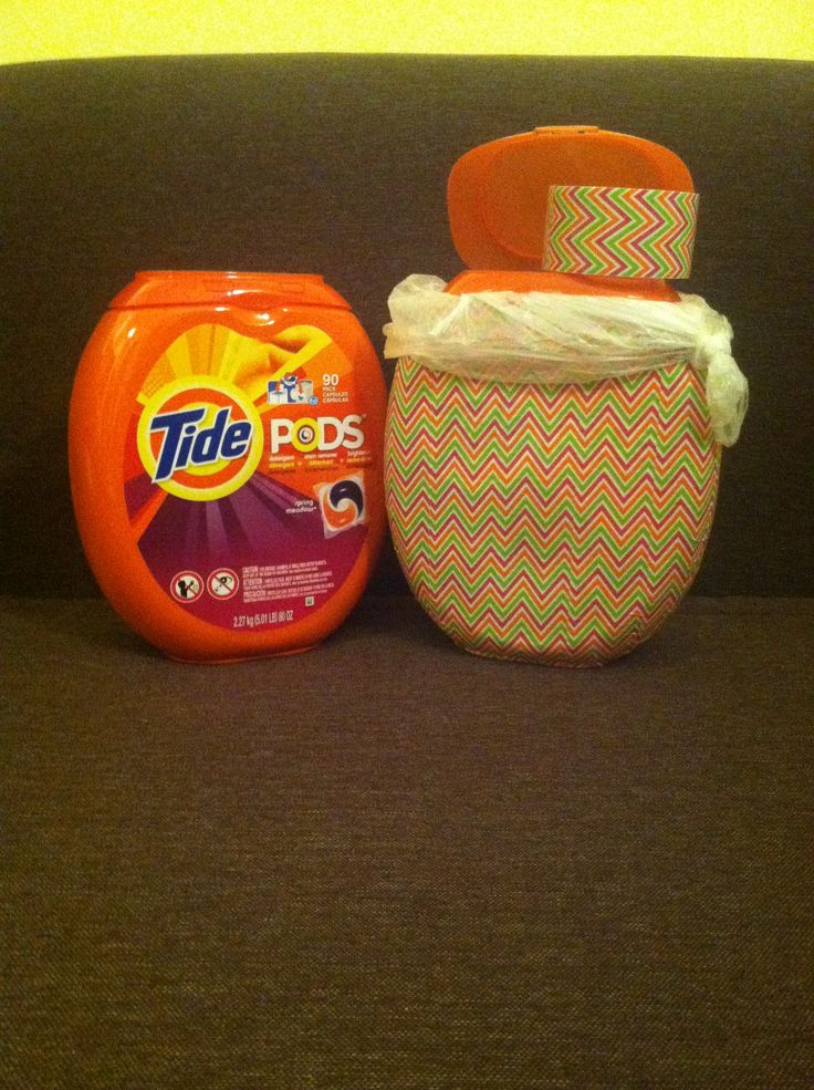 Tide pods container transformed to mini garbage can, just add decorative duct tape to empty container!!!