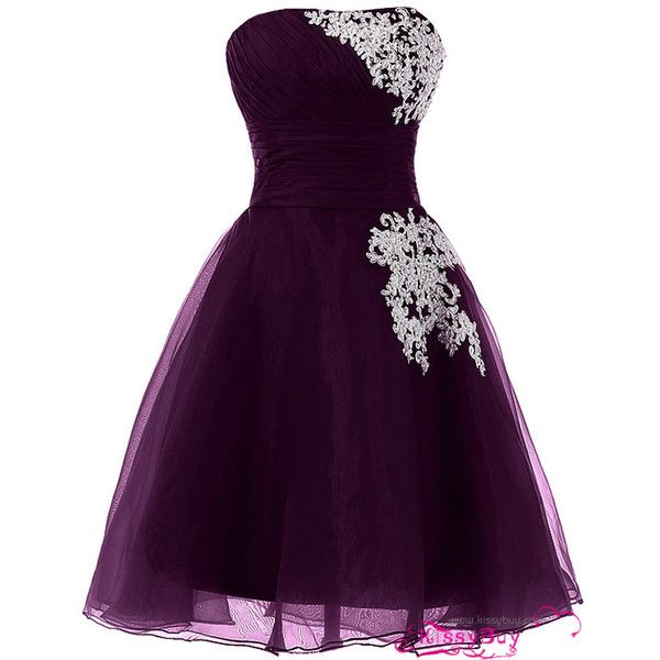 A Line Strapless Grape Perfect Short Prom Dress with Applique for... (£105) ❤ liked on Polyvore featuring dresses, a line dress, strapless dress, cocktail party dress, prom dresses and strapless cocktail dress