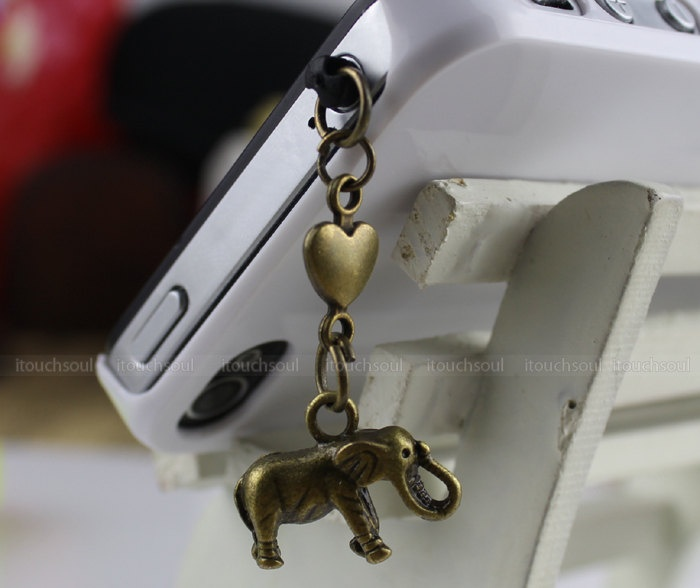 3.5 mm dustproof plug and African elephant for iphone 4 s, iphone 4, iphone 3 gs, iPod Touch 4, HTC, samsung, electricity, Nokai SONY