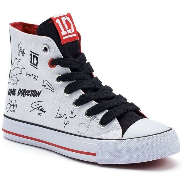 One Direction Autograph Women's High-Top Sneakers ($55) ❤ liked on Polyvore featuring shoes, sneakers, one direction, white trainers, white high top sneakers, white hi top sneakers, lace up shoes and hi tops