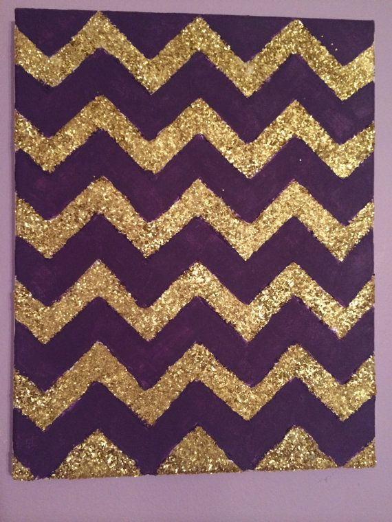 Purple and Gold Glitter Chevron Canvas by CreationsByENG on Etsy, $15.00