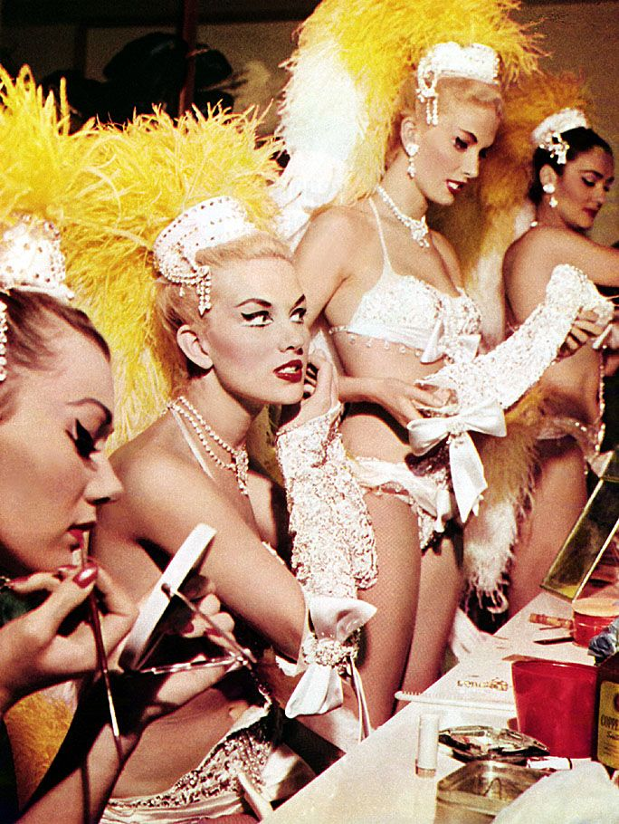 A bevy of showgirls at the 'SAHARA' casino prepare before another performance.. From an article on Las Vegas, scanned from the December '59 issue of 'NUGGET' magazine..