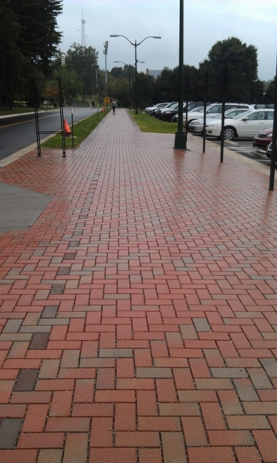 Wake Forest University goes water permeable with local clay pavers.