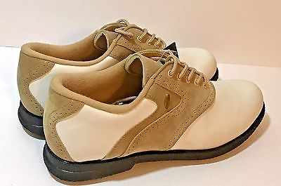 New Austin Women's Golf Shoes White/Tan Size 9 M Suede NWT Golf Spikes