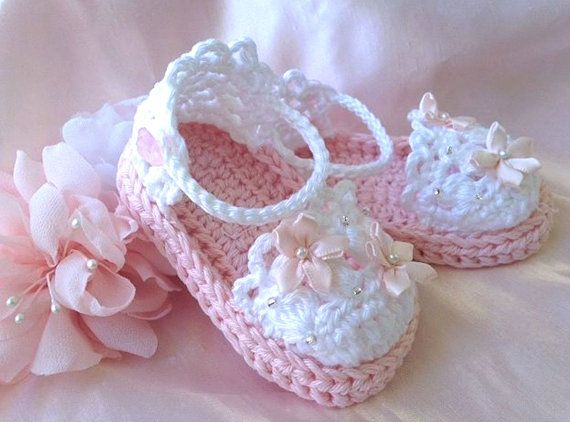 Baby Girl Sandals in Pink, Crochet Baby Girl Booties, Cotton pink and white baby…