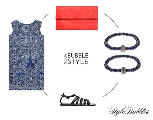 "Bubble Your Style for your night drinks in our See You Klio ""flared back"" dress, Valia Gabriel Sandals ""Black Cave"" style, Treis clutch and Katerina Vranopoulou Jewelry agate bracelets!  #StyleBubbles #dresses #sandals #accessories #jewelry"