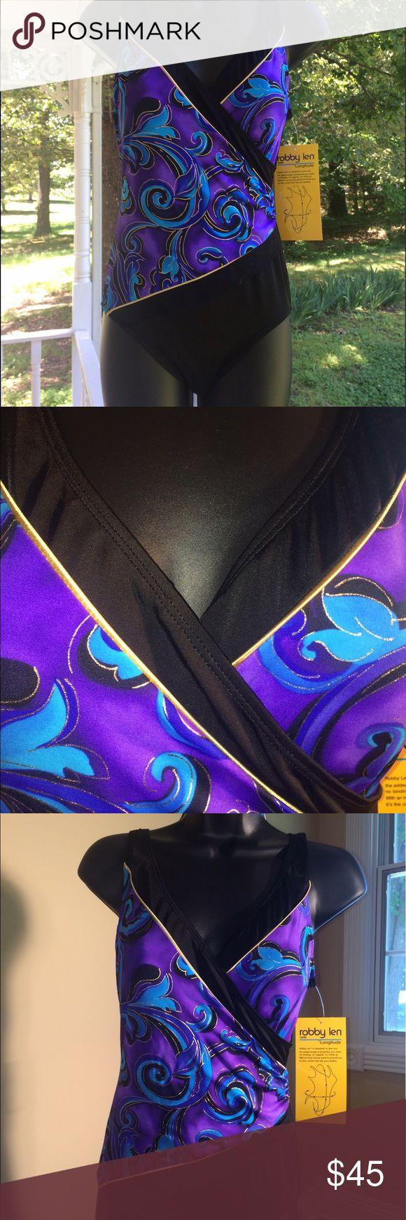 Longitude Swimsuit 8 One Piece Swimwear Long torso Longitude Robby Len long torso  Swimsuit Sz 8 Blue Black Purple Multi faux wrap V-Neck One Piece Swimwear. New with tags. Longitude Swim One Pieces