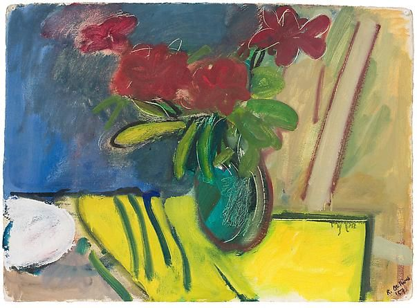 Still Life by Robert De Niro Sr., 1959, Oil on paper, 22 1/2 x 31 inches | DC Moore Gallery