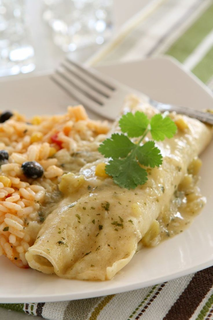 Creamy Chicken Enchiladas from AllSheCooks.com