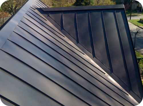 Dark grey, standing seam metal roof.