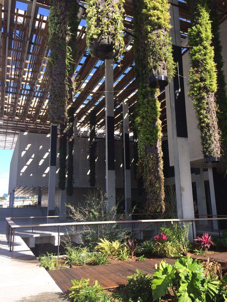 Vertical garden and overhang detail at the new Perez Art Museum Miami. Architects: Herzog & De Meuron