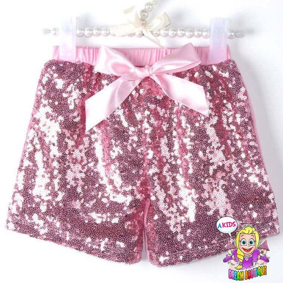 Girls pink shorts sequin shorts leggings by AKidsDreamBoutique