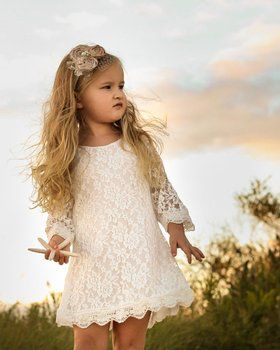 CVERRE Flower Girl Lace Dress Country Dresses with sleeves 1-6 ( White, 160)