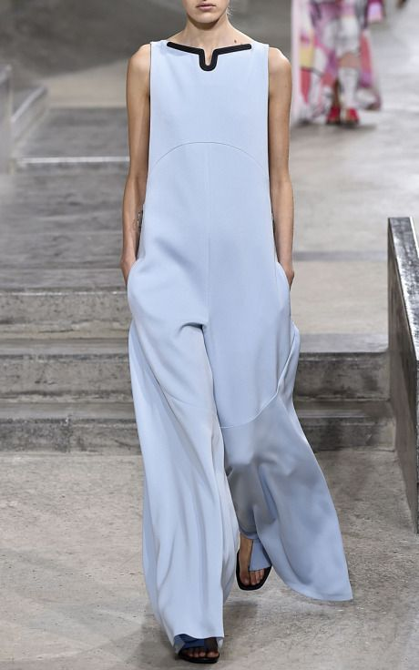 Sky Blue Textured Pique Jumpsuit by Kenzo for Preorder on Moda Operandi