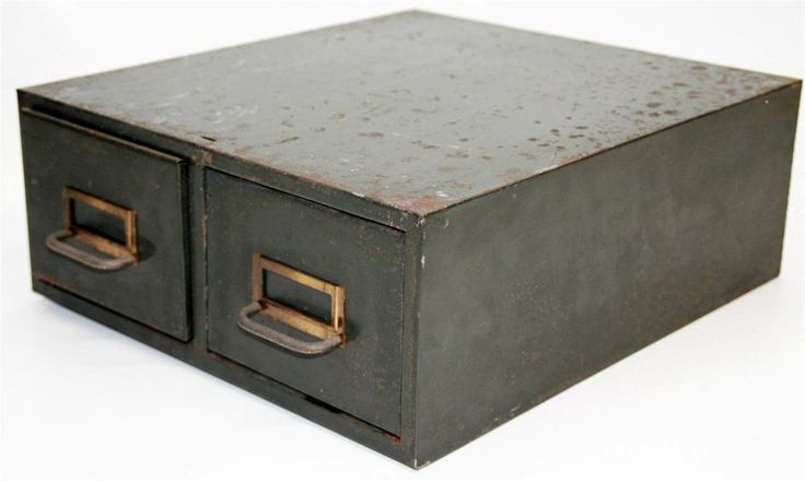 Vtg INDUSTRIAL DOUBLE FILE BOX green storage cabinet metal steampunk drawer 60s