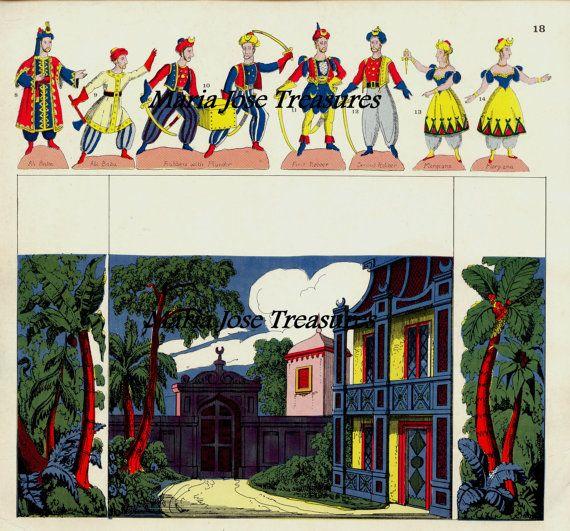 Estos son cuatro archivos, hecho en Inglaterra, con algunas de las partes necesarias para hacer un teatro en miniatura para la obra Ali Baba y los 40 ladrones, listas para que puedas jugar con ellos, o trabajar con ellos! Imprimela en cartulina blanca, y asegurate de cortar las
