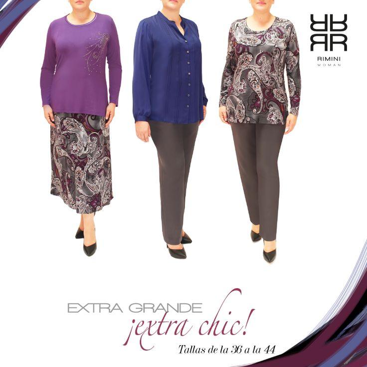 Rimini Woman, tallas extra grandes, es nuestra línea que va de la talla 36 a la 44.  Este hermoso coordinado en telas importadas muy suaves al tacto en tonos azules, uva, gris, y lila, es perfecto para esta temporada. .#falda, #pantalón, #blusa.  Cómpralo en línea, da click aqui! http://www.rimini.com.mx/linea.php?id_lin=4