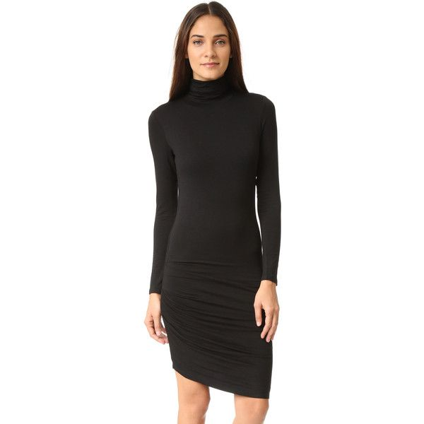 And B Black Dress ($99) ❤ liked on Polyvore featuring dresses, long sleeve dress, turtle neck dress, long-sleeve turtleneck dresses, form fitting dresses and long sleeve turtleneck