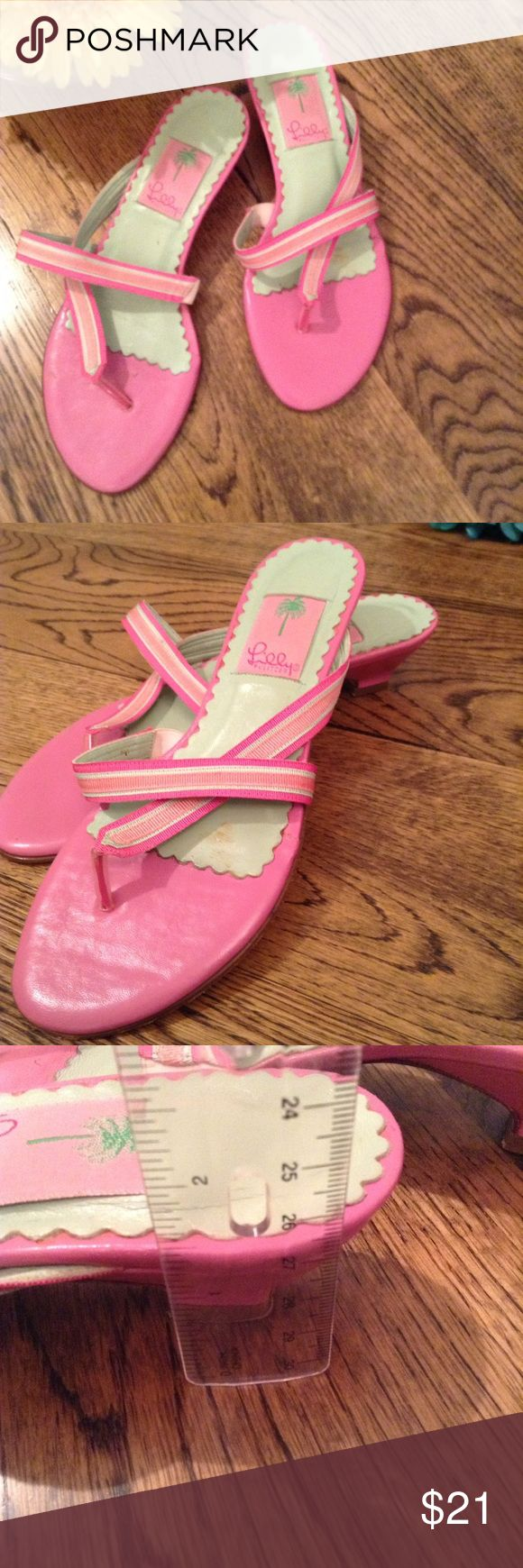 Lilly Pulitzer pink and green sandals The ultimate preppy color combo in go to vacation sandals by Lilly Pulitzer. Lilly Pulitzer Shoes Sandals