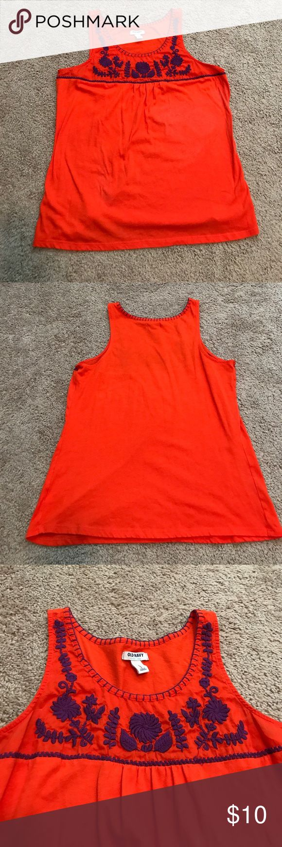 Old Navy Tank Top Orange and Purple Old Navy Tank Top. Has purple Floral stitching at the top on the front. Would be great for the Clemson games! Smoke Free Home Old Navy Tops Tank Tops