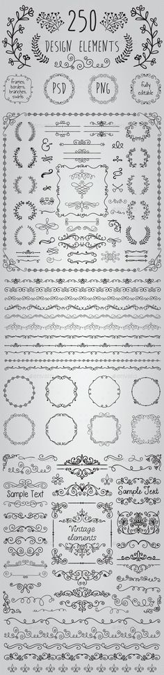 Big Set of 250 Handsketched Design Elements (Transparent PNG, CS, 500x500, 6.9x6.9, banners, black, border, branch, bundle, clipart, congratulation, decoration, drawing, editable, elements, flourish, foliage, foliate, frame, greeting, hand drawn, invitation, laurels, leaves, ornaments, pack, rustic, sketch, wedding)