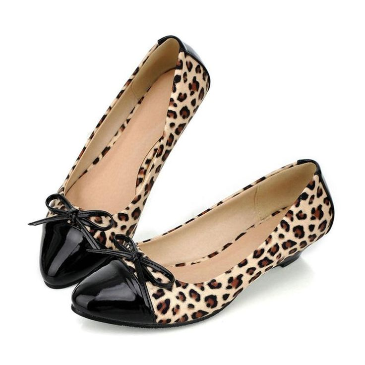 New Trend Leopard Bowknot Female Point Toe Flat Shoes 10713708 - Flats - Dresswe.Com