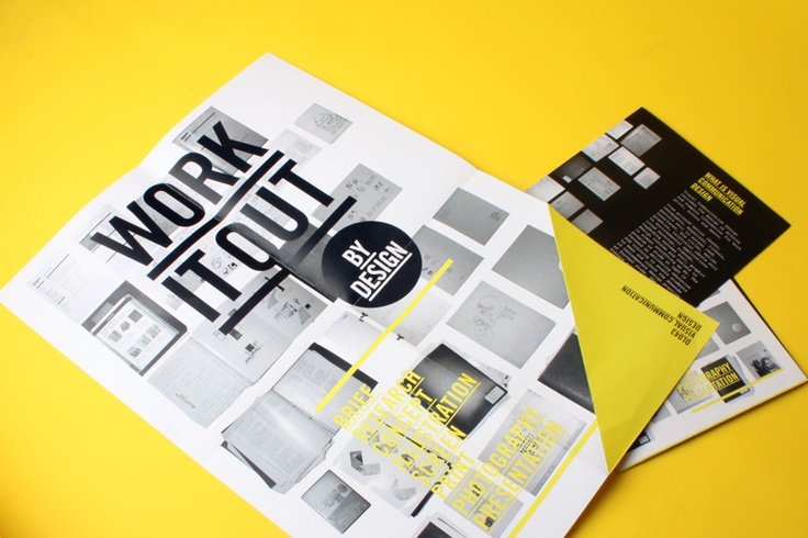 Great use of overprinting and folded block colours to create a modern and appealing brochure design. Citrus yellow, black and white is such a crisp colour palette.